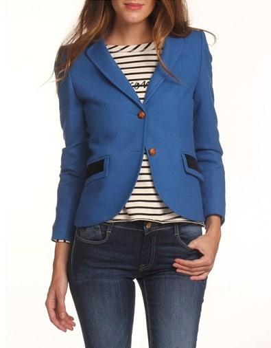 Blue Fitted Blazer Women