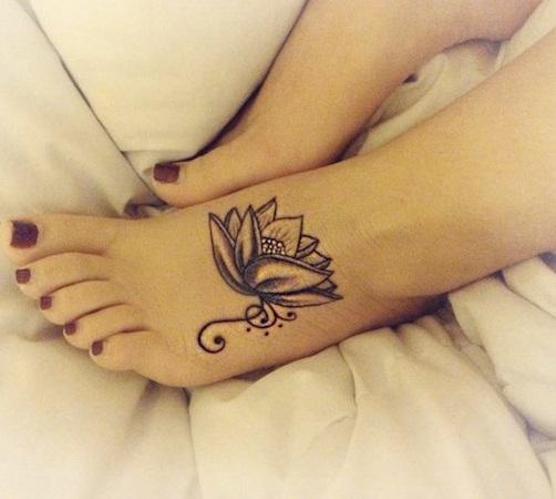 flower foot tattoos