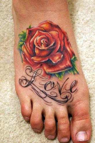 rose foot tattoo
