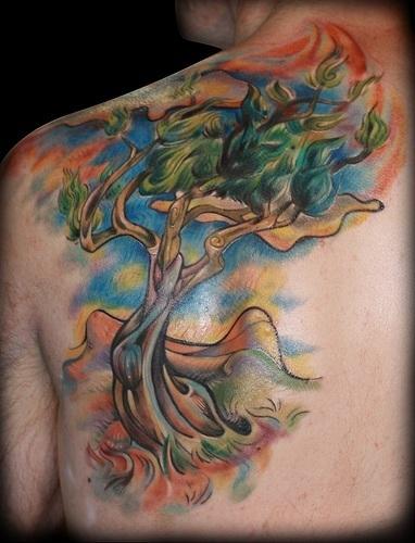 Contemporary Abstract Tree Tattoo