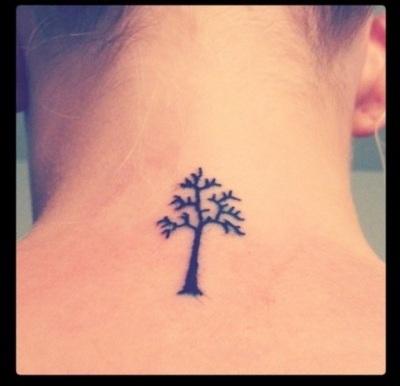 Simple Small Tree Tattoos On Neck