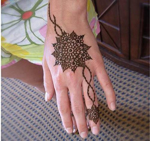 Elegant Round Mehndi Design for Hands