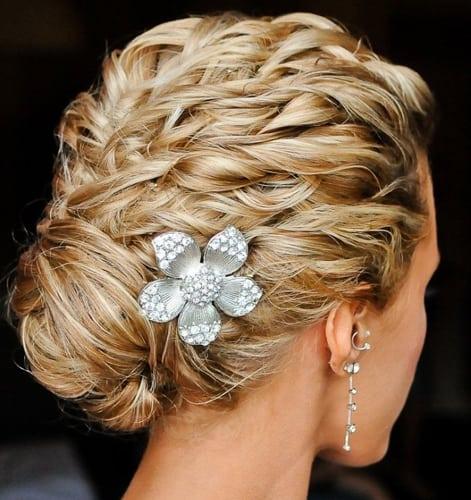 Blonde Wavelets Braid Bun Look