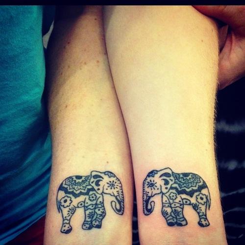 25 Stylish & Cute Matching Tattoos for Couples - Matching Elephant tattoo