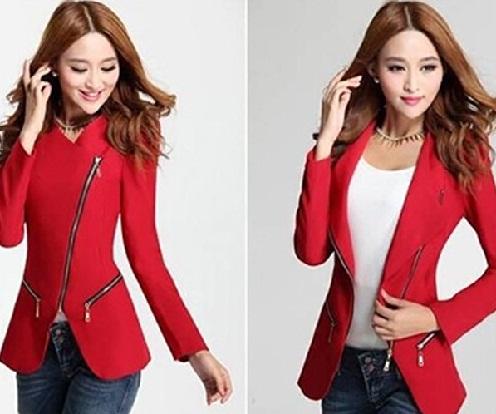 Slim-fit red blazer