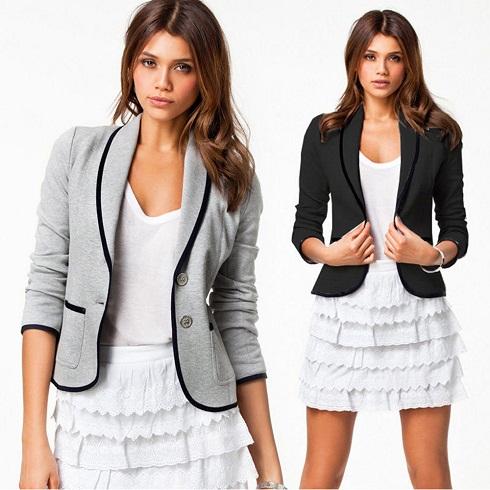 Grey blazer with black border