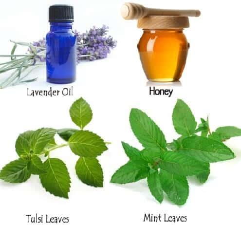 Mint Leaves Tulsi Leaves Lavender Oil And Honey