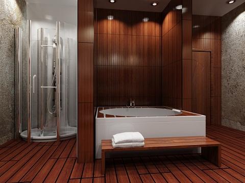 Wooden Floor Classic Modern Bathroom