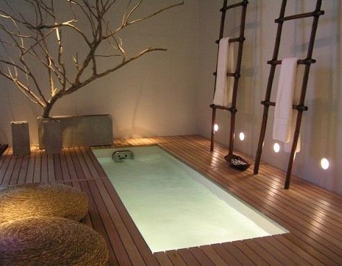 Floor Level Bathtub Bathroom