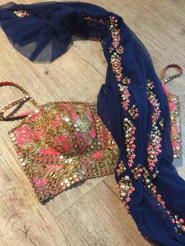 Bridal Blouse Designs-Low Cut Pink Blouse 5