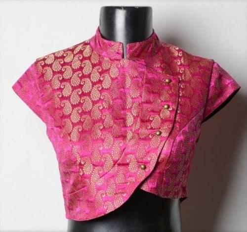 Bridal Blouse Designs-Pink Jacket Style Blouse 7