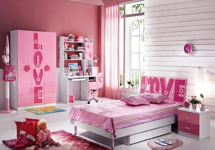 Pink Theme Kids Bedroom Interior Design