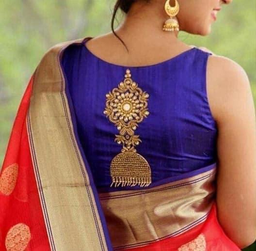 Silk Saree Blouse Designs Neck Back