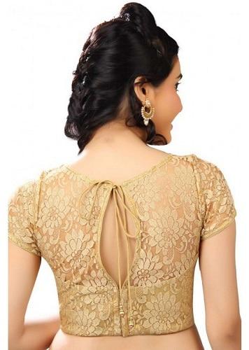 Golden Floral Blouse Neck Design