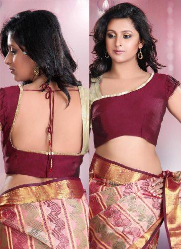 Saree Blouse Designs-Stylish Maroon Blouse 8