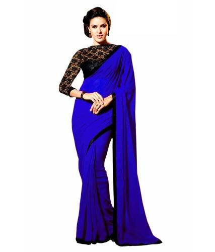 Saree Blouse Designs-Blue Lace Blouse 20