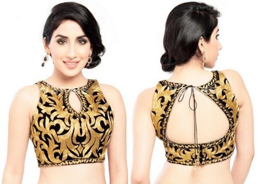 Saree Blouse Designs-Tiger Print Blouse 26