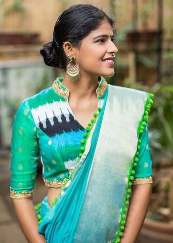 Chinese Collar Saree Blouse Design