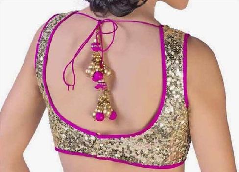 Stylish String Back Neck Blouse for Saree