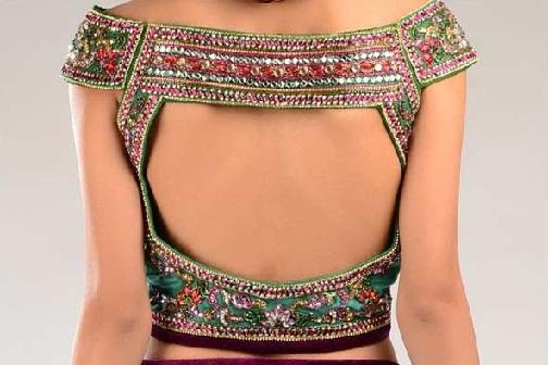 Off Shoulder Back Neck Saree Blouse