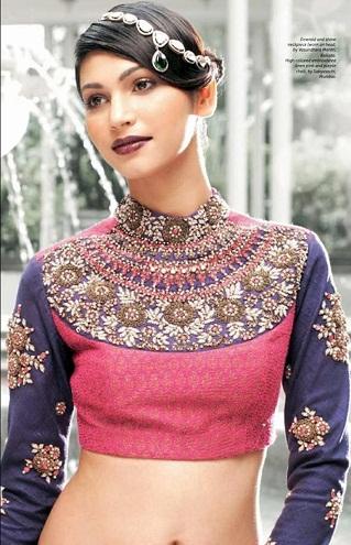 High Neck Design Saree Blouse