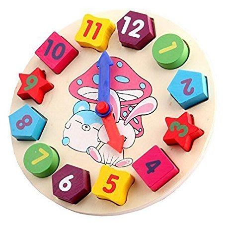 Wooden Blocks Toy Clock