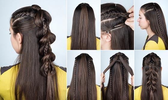 Modern Braid Hairstyle with Loose Hair