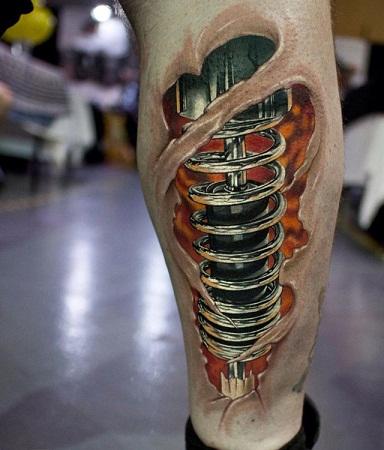 Shock Absorber Biomechanical Tattoo Design