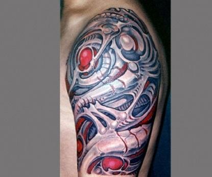Shaded Bio Mechanical Tattoo Design