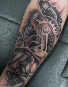 Futuristic Biomechanical Tattoo Design