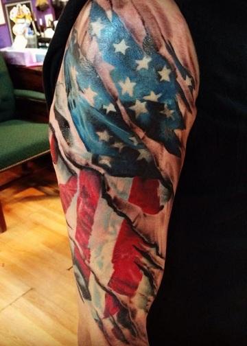 Patriotic Ripped Skin Tattoo Design