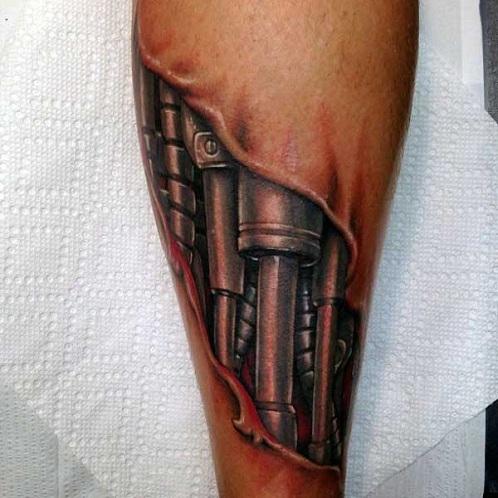 Mechanical Ripped Skin Tattoo Design