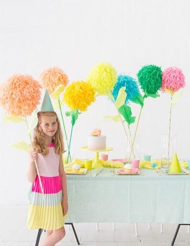 Poms Flower Paper Stick Crafts