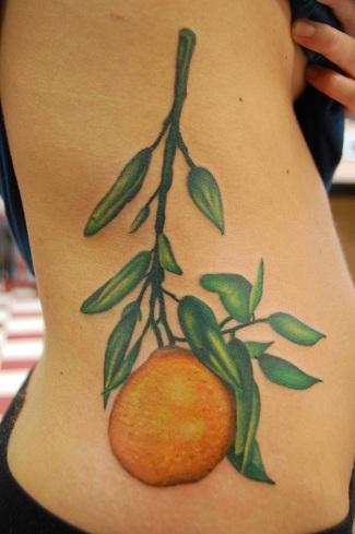 Orange Branch Tattoo Design
