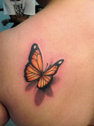 Orange & Black Butterfly 3D Tattoo Design