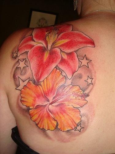 Orange Hibiscus Flower Tattoo Design