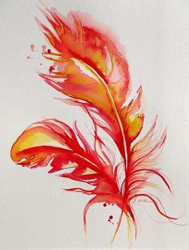 Orange Feather Tattoo Design