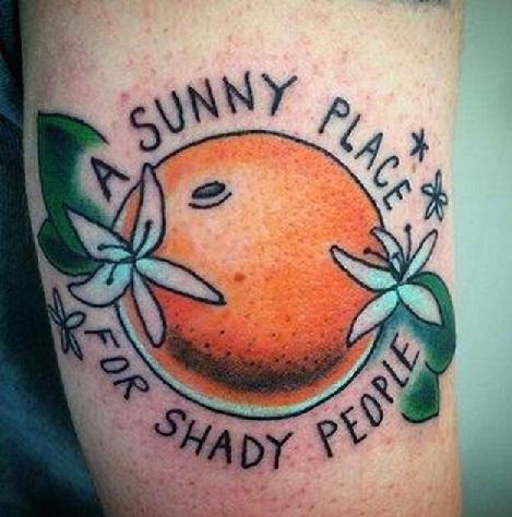 Beachwear Orange Tattoo Design