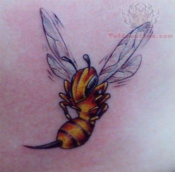 Dazzling Soaring High Bee Tattoo Design