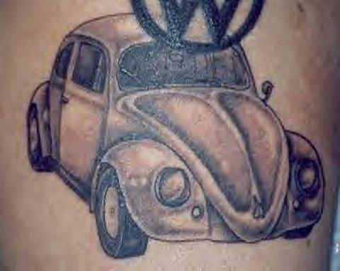 Cute Beetle Car Tattoo Design