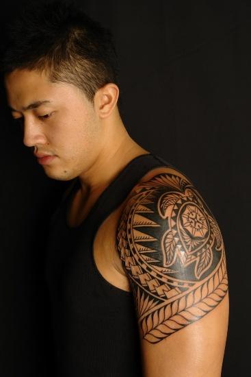 Hawaiian Tribal Turtle Mayan Tattoo Design