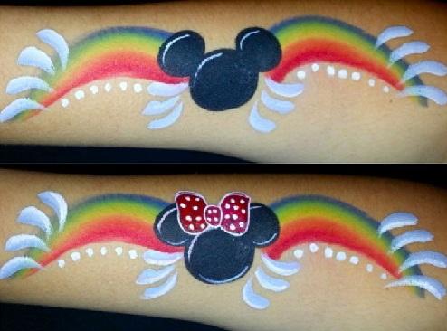 Rainbow Mickey and Minnie Tattoo Design