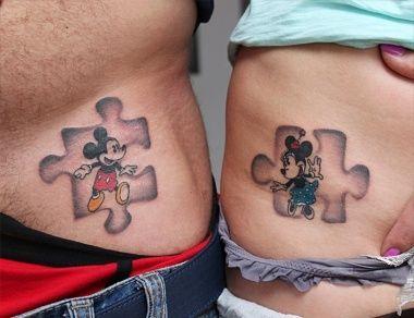 Puzzle Mickey and Minnie Tattoo Design