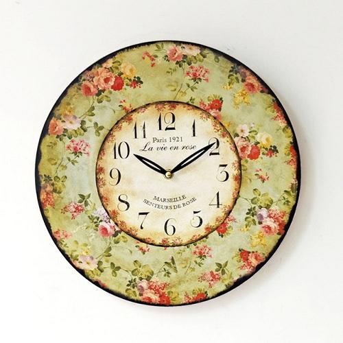 Floral Round Wood Designer Clocks