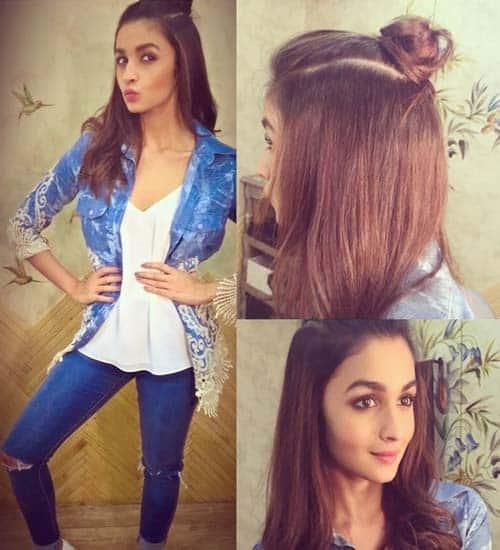 Alia Bhatt Half Hair Bun Hairstyle