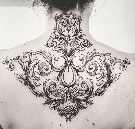 On Neck baroque Tattoo