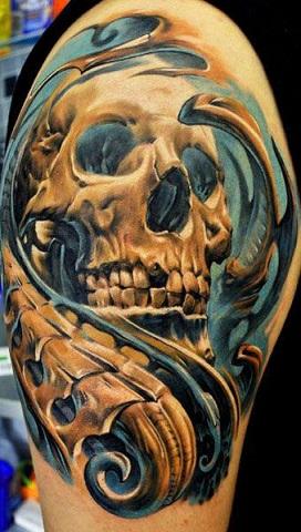 Fiery Bio Organic Skull Tattoo Design