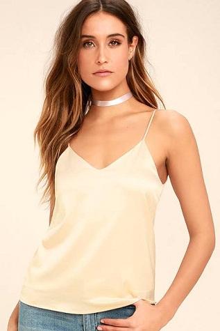 V-Shaped Silk Camisole
