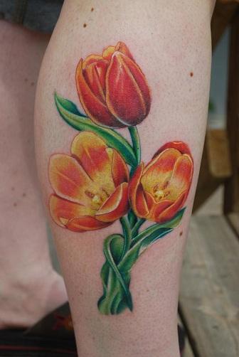 Parrot Pattern Tulip Tattoo