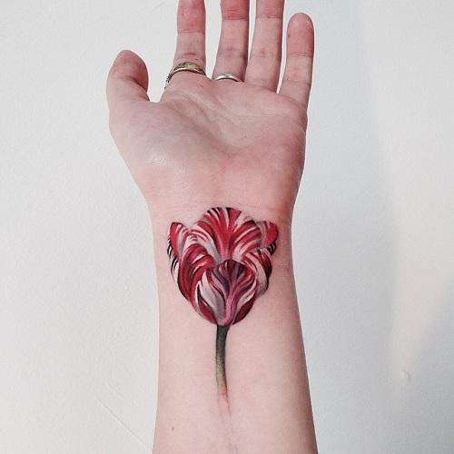 Red Casual Tulip Tattoo